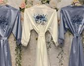 Dusty Blue Bridesmaid Robes, Bridal Robes, Satin Dressing Gown, Floral Bridesmaid Robe, Wedding, Wedding Robes, Bride Robe, Bridesmaid Gift