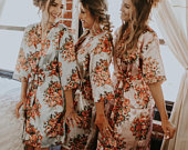 bridesmaid robes, Floral bridesmaid robe, wedding day robes, Bridesmaid gifts, Custom Silk Robes, Bridal Party Robes, Bridesmaid pajamas