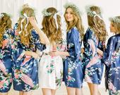 Bridesmaid Robes Wedding/ Bridal Robes Set/ Satin Bridesmaid Robe/ Silk Bridesmaid Robe/ Bride Robe Floral/ Personalized Robe for Bridesmaid