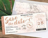 Rose Gold Watercolor Destination Wedding Boarding Pass Save The Date by Luckyladypaper Customized PDF file for DIY Print