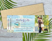 Jamaica Boarding Pass Save the Date with Optional Magnetic Backing // Beach Save the Date // Destination Save the Date // Photo