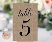 Burlap Table Numbers Wedding Table Number Cards Burlap Wedding Decor Rustic Wedding Decor Wedding Number SignsTable Number Cards