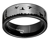 8mm Duck Hunting Scene Ring, Pipe Cut Tungsten Ring Black, Men Tungsten Wedding Band, Custom Made Promise Ring, Free Engraving