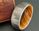 Tungsten Wedding Band Mens Wooden Ring with Forest Trees Oak Wood Ring Mens Wedding Band Unique Wedding Ring Silver Tungsten Mens Ring
