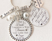 Mother of the Bride GiftMother of the Bride KeychainRomantic Pearl Jewelry Today a Bride Personalized Keychain Mother GiftMother Jewelry