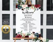 All Editable Navy Burgundy Floral Wedding Program Board Sign Template, Printable Large Program Poster, 24x36 18x24, DIY Edit at Templett122