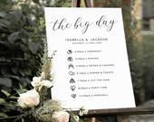 Order of the Day Wedding Sign, Wedding Day Timeline Sign, The Big Day Signs, Wedding Events Sign, Itinerary Download, Templett