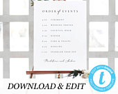 Editable Order of Events Template Modern Wedding Itinerary Sign Timeline Sign Minimalist wedding sign Printable Templett 10 11