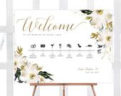 INSTANT DOWNLOAD, Large Wedding Welcome Sign, Editable, Timeline, Order of Service, Clipart, Ivory, Neutrals, Gold, Template, Printable, DIY