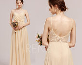Bridesmaid Dress Champagne Prom Dress Long Lace Straps Chiffon Wedding Dress Boho Sweetheart Party Dress Open Back Aline Formal Dress(H856)