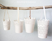 Wedding Flower Girl Basket White Metal Pail Bucket Vintage Style Lace Lacey Cutout Size and Handle Options Plus Customization Available