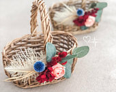 Red, Peach and Blue Flower Girl Basket with Eucalyptus Greenery, Feathers and Blue Thistle, Sola Rose Flower Girl Basket, Brown Woven Basket