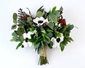 wedding flowers, wedding bouquet, bridal bouquet, silk bouquet, eucalyptus bouquet, artificial bouquet, boho bouquet,anemone, red, burgundy