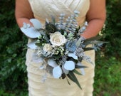 Dusty Blue White Bouquet, Wedding Bouquet, Bridal Bouquet, Blue Bouquet, White Bouquet, Rose Bouquet, Dried Flower Bouquet Natasha Ann