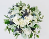wedding flowers, wedding bouquet, bridal bouquet, silk bouquet, eucalyptus bouquet, artificial bouquet, boho bouquet, ivory, white, blue