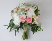 boho bouquet, bridal bouquet, wedding bouquet, wedding flowers, artificial bouquet, silk bouquet, pink, white, eucalyptus, beach wedding