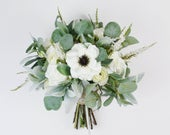 Wedding Bouquet, Bridal Bouquet, Wedding Flowers, White and Green Bouquet, Boho Bouquet, Fall Bouquet, Artificial Bouquet, Ivory, Cream