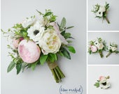 wedding bouquet, bridal bouquet, eucalyptus, anemones, artificial bouquet, wedding flowers, wedding flower set, peony bouquet, pink, white