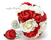 White Red Real Touch Roses Bridal Bouquet Grooms Boutonniere White Satin Ribbon and Pearl Rhinestone Brooch Customize for Your Colors