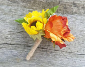 Sunflower and orange french rose boutonniere, fall wedding boutonniere, summer boutonniere, rustic boutonniere, fall sunflower boutonniere