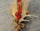 Deer antler boutonniere, Wheat boutonniere, Natural wheat, Wedding, Boutonniere, Outdoors man, Rustic, Country, Prom, Homecoming