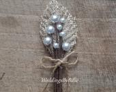 Boutonniere, Groomsmen Flower, Buttonhole, Bridal Accessories, Neutral Boutonniere, Wedding Flowers, Burlap and Lace Wedding, Ivory Bout