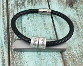 Name bracelet, gift for dad, faux leather name bracelet, name ring bracelet, mens bracelet, fathers bracelet, dad bracelet, bracelet for dad