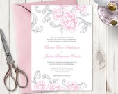 Wedding Invitation Template Exquisite Florals, Pink Grey. Printable Invite with Roses and Swirls, Baroque Style. Templett, Instant Download.