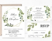Greenery Wedding Invitation Suite Template, DIY Printable Invites Set, Editable Sage Green Theme, RSVP and Details Card, s100