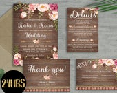 Rustic Wedding invitation template, Wooden Wedding invitation, Floral wedding invites set, Printable invitations set, sd27
