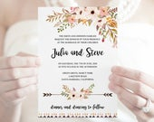 Watercolor Wedding Invitation Template Flower Fantasy. DIY Printable Invite, Southern Rustic Style. Editable templett, Instant Download.