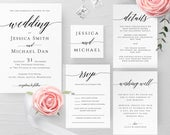 Wedding Invitation Template Printable Editable Rustic Wedding Invitation Suite Templates Kit Templett Wedding Invitation Template Suite R2
