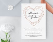 Invitation Template, geometric, modern Wedding, Polygon, Industrial, Printable Invite, Templett, DIY
