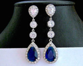 BLUE WEDDING Earrings BRIDAL Jewelry Cubic Zirconia Tear Drop Wedding Jewelry Prom Pageant Jewelry Bridal Glamorous Bling