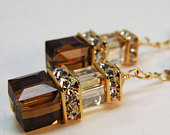 Chocolate Brown Earrings, Dangle Swarovski Crystal Cube, Gold Filled, Bridesmaids Earrings, Autumn Wedding Bridal Jewelry, Fall Fashion