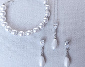 Bridal Jewelry Set Pearl Drop Earrings Bracelet Sterling Silver Best Bridal Wedding Pearl Jewelry Set