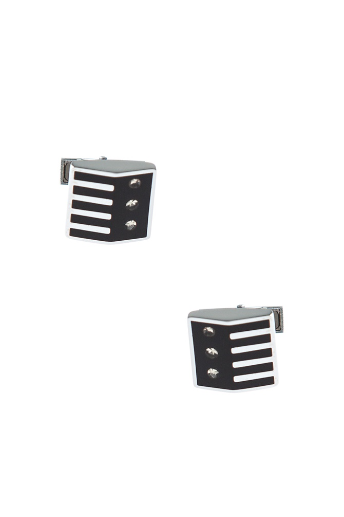 Unique Patterned Square Cufflinks by American Necktie Co. - Black Metal