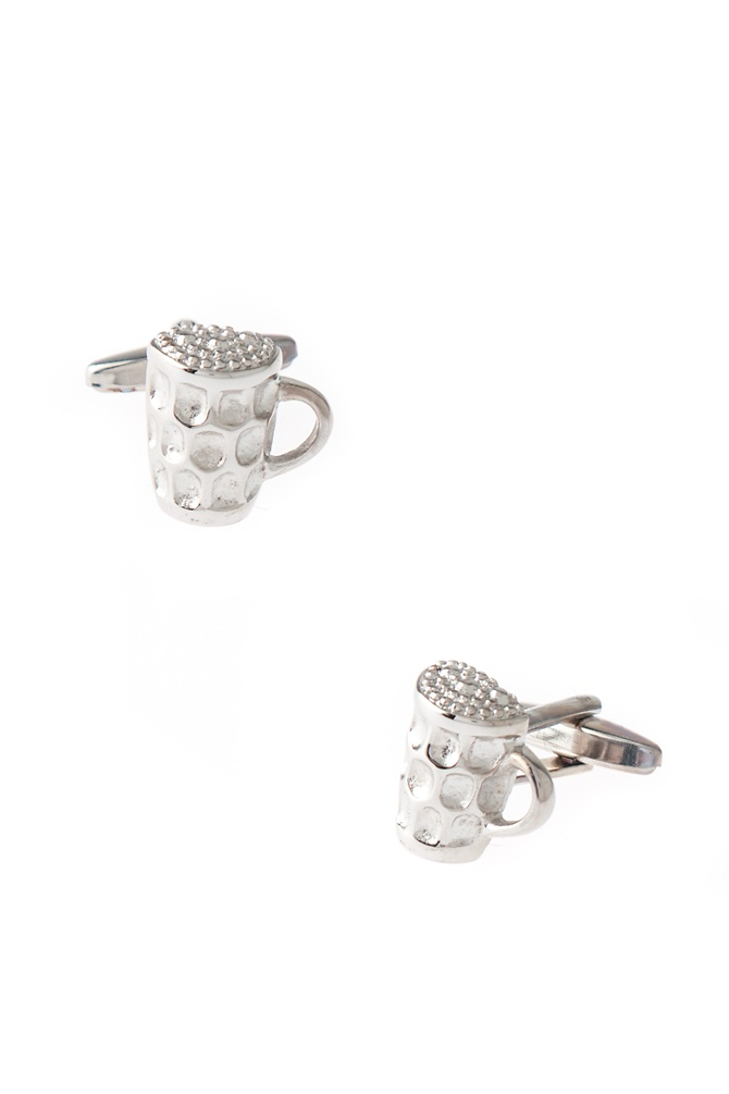Beer Mug or Cup a Joe Cufflinks by Wild Ties - Silver Metal