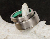Wedding Ring Set: Metal Band with Malachite Inside Band 1 Overlay Stone Forge Studios