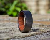 Wood Ring, Wood Wedding Band Men, Mens Wooden Ring, Wooden Ring, Mens Ring, Wedding Band, Wood Inlay Ring, Sandblasted Wood Ring, Wood Rings