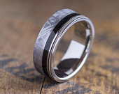 Guitar Ring, Meteorite Wedding Band Inlaid With Ebony Wood And A Guitar String