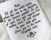 Wedding Gift personalized handkercief Wedding gift for dad. Father of the Bride hankerchief Custom Bridal Gift on Wedding Day Gift