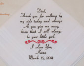 Gift for Father of the Bride Hankerchief Personalized Wedding Handkerchief Embroidered Present For Dad Mens Accessory Favors Napa Embroidery