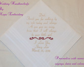 Wedding Handkerchiefs Embroidered Father of the Bride Personalized gifts Dad custom Rolled Hem bride groom thank you Etsy Napa Embroidery