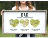 Personalized Christmas Gift for Dad from Daughter Wood Heart Map Long Distance Father Daughter Gift Dad Birthday Gift Long Distance Family