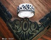 Sterling Silver Name Ring, Music Biker Rock N Roll Personalized Ring