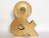 Metallic Gold Silver Paper Mache Stand Up Ampersand Sign Engagement Wedding Shower Sweetheart Table Photo Prop Party, Home Decor