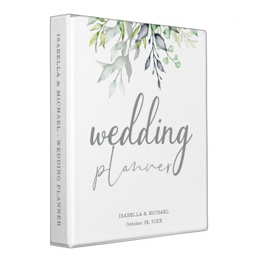 Botanical Calligraphy Wedding Planner 3 Ring Binder