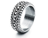 Motorcycle Tire Pattern Rings for Men, Steampunk Biker Jewelry, Men Antique Silver Stainless Steel Ring, Vintage Grooved Tread Ring