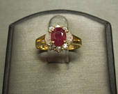 Vintage Estate 18K Gold 1.75TCW Oval Fine Red Ruby Round Baguette Diamond Tiara Style Engagement Ring Sz 5.75